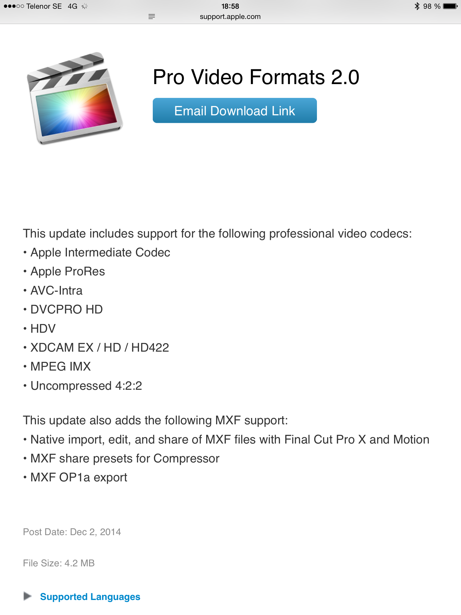 MXF support for QuickTime